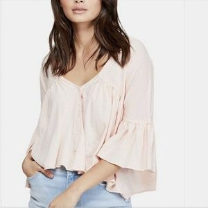 FREE PEOPLE Sweet Little Tee Top Small S 5A03